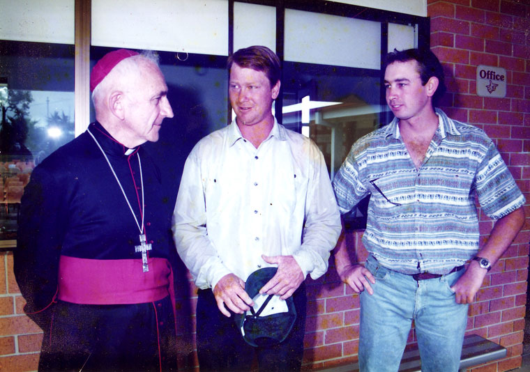 Peter Moroney with the Bishop after construction works at St Patricks School Macksville