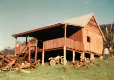 First Construction Project, Carrai-1983, by Peter Moroney Building Certifier. Timber Cabin, Motorbike, Grassy Hill,